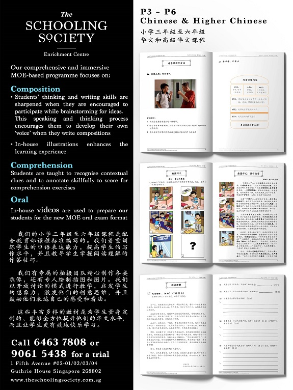 The Schooling Society Boutique Enrichment Centre Primary 6 Chinese & Higher Chinese Writing Classes